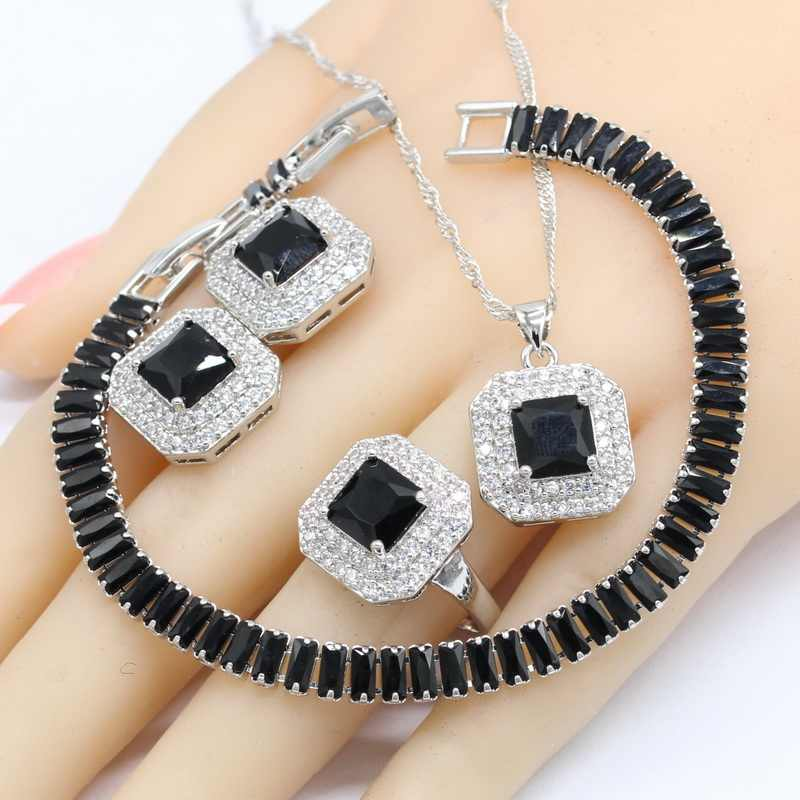 Silver Color Jewelry Sets For Women Gift Black Semi-precious Necklace Pendant Stud Earrings Ring Bracelet 2018 New