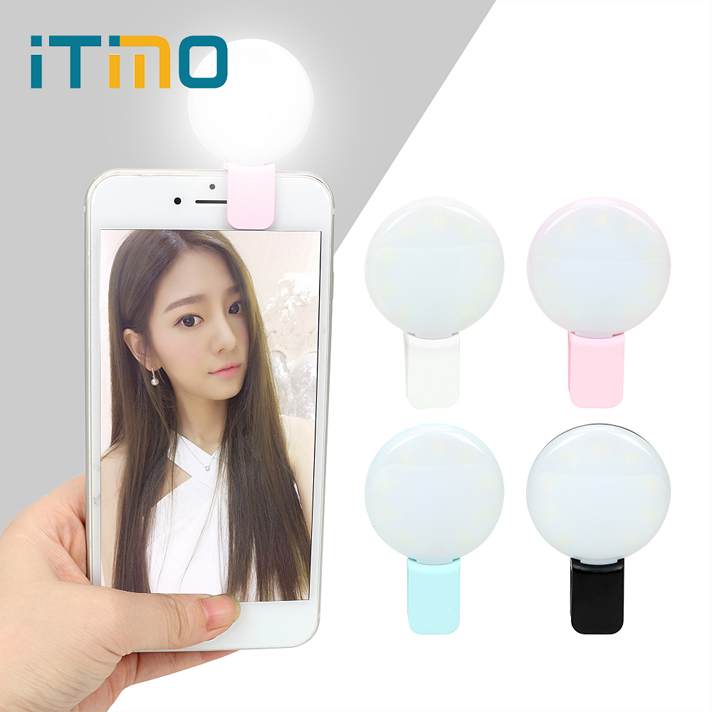 ITimo LED Flash Fill Light For IPhone IOS Android Portable 3 Level Adjustable Brightness Novelty Lighting USB Rechargeable Mini