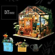 DIY Wooden Flower house Miniature Dollhouse 3D LED Mini Kit With Furniture Light Creative Christmas Gift