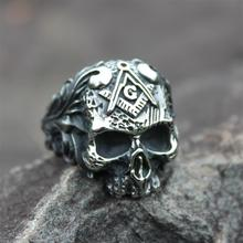 цены Vintage 316L Stainless Steel Ring Free-Mason Masonic Skull Rings for Men Freemasons Biker Jewelry