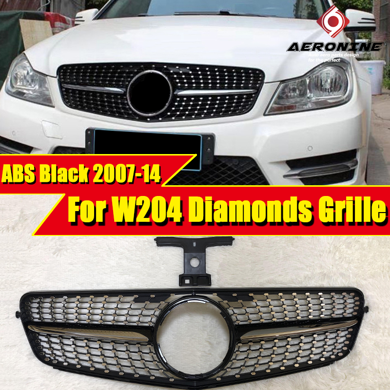 For MercedesMB <font><b>W204</b></font> saloon coupe C63 look grille diamonds C class C180 C200 C250 C350 C400 <font><b>grills</b></font> ABS Black Without sign 07-14 image