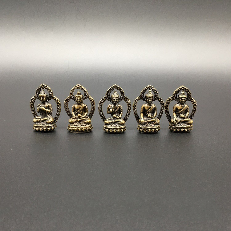 Collection Chinese Brass Carved The Five Party Buddha A Set Medicine Buddha Mini Buddha Exquisite Small Statues