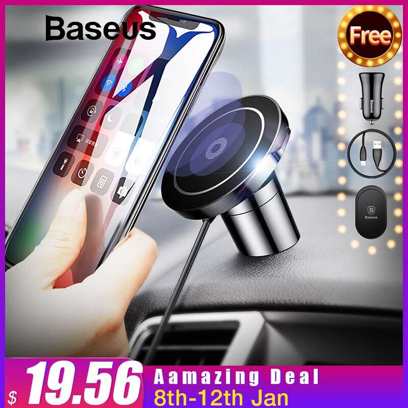 Baseus Магнитная Qi Беспроводной Зарядное устройство для iPhone XR XS Max samsung S9 быстрый автомобиль Беспроводной зарядки Зарядное устройство мобильный телефон подставка держатель