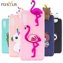 FLYKYLIN Phone Cases sFor Fundas Samsung Galaxy A9 2018 Case Soft TPU Candy Color 3D Cartoon Cover for Samsung A7 2018 A750 Case