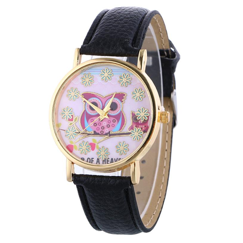 Fashion Women PU Leather Strap Owl Pattern Quartz Movement Watch Alloy Stainless Steel Dial Analog Crystal Decorative Watch #W