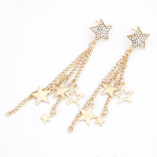 Free Shipping 2017 New Design Diamante Star Ear Chain Tel Long Chains Earrings For Women Gold