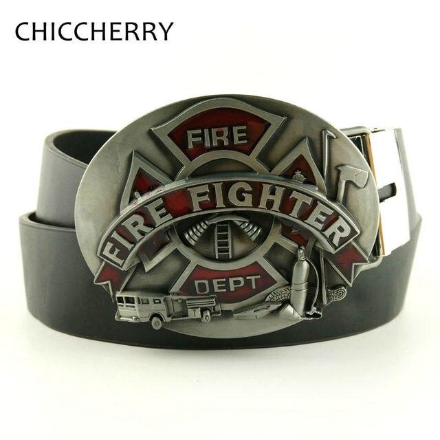 New Fashion Mens Belts Firefighter Logo Fire Dept Fighter Hatchet Big Belt Buckle Casual Men's Jeans Belt Fivela Cinto Masculino