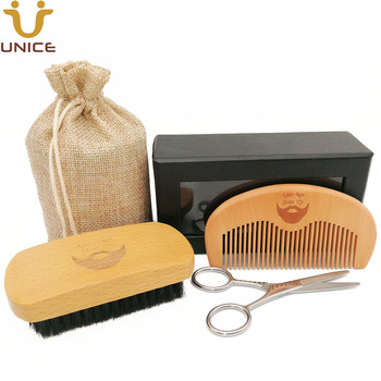 MOQ 50pcs Men Beard Care Set in Gift Window Box Custom LOGO Fine & Coarse Teeth Wood Combs Boar Bristle Beard Brush & Scissors