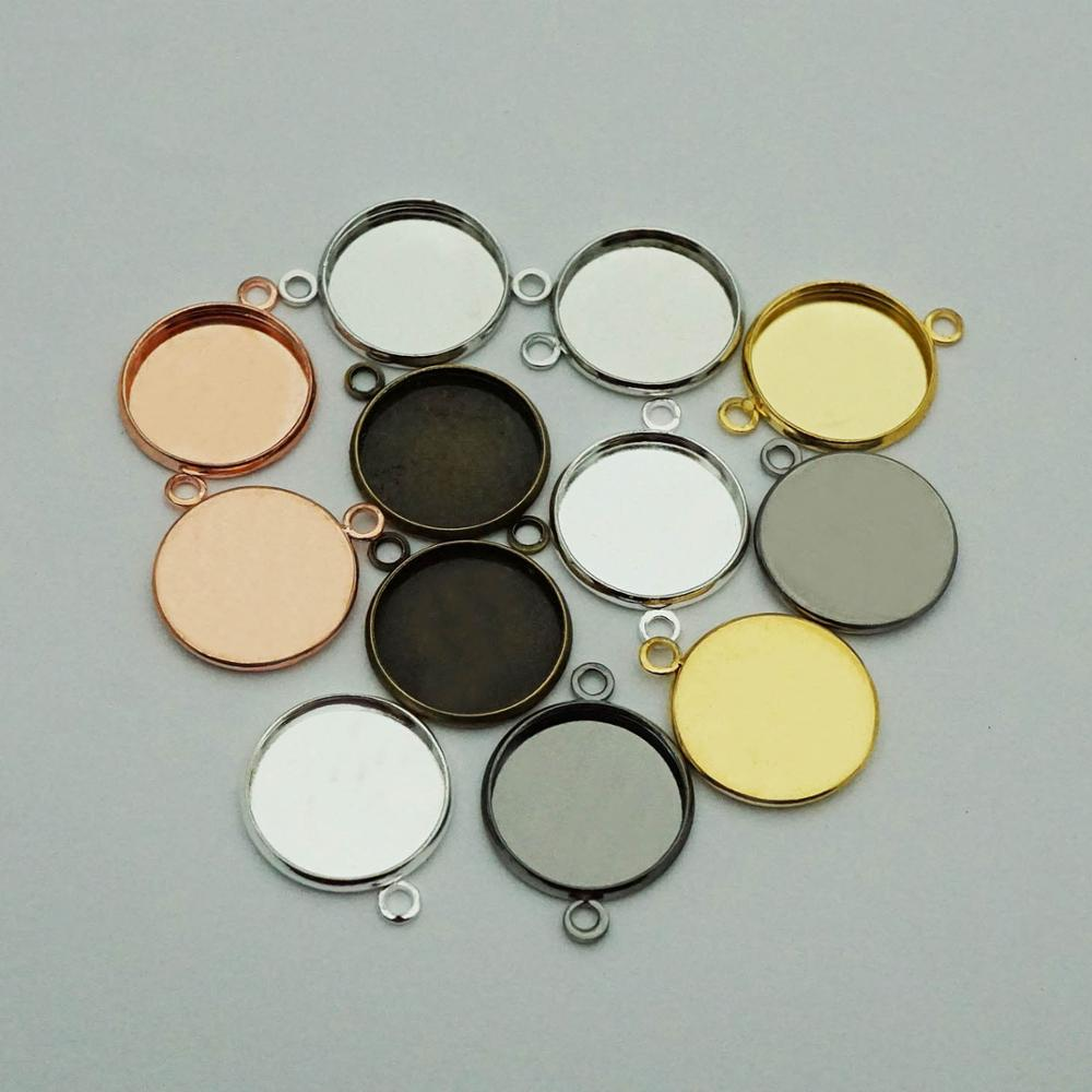 20pcs 12mm-25mm Single Double Ring Round Blank Connector DIY Cabochon Base Bracelet Pendant Setting For Jewelry Making Findings