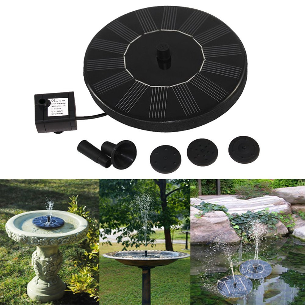 Solar Powered Bird bath Fountain Pump, Free Standing Garden 1.4W Solar Panel Kit Water Pump, Outdoor Watering Submersible Pump