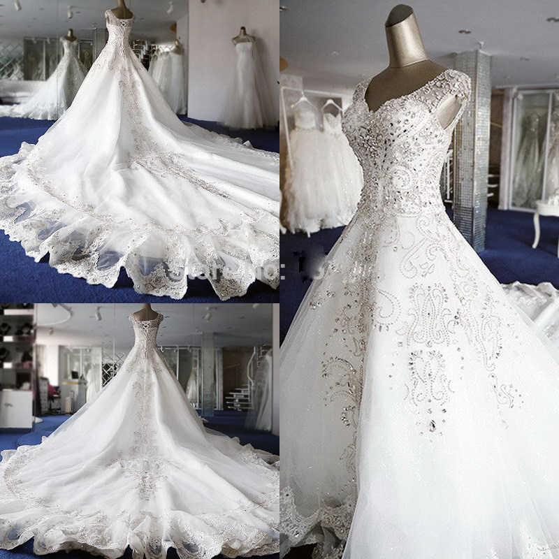 Роскошные хрустальные стразы, бисероплетение, рукав-крылышко, шнуровка, 2-метровый Королевский Шлейф, свадебное платье для невесты на заказ