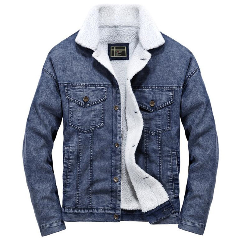 Denim Jacket Men Winter  Streetwear Fashion Turn Down Fur Collar Windbreaker Cowboy Jackets Men's Outwear Hip Hop Jeans Coat