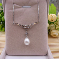 100 Pure Sterling Silver Set Genuine Natural Freshwater Pearl Women Fine Jewelry Pendant Necklace