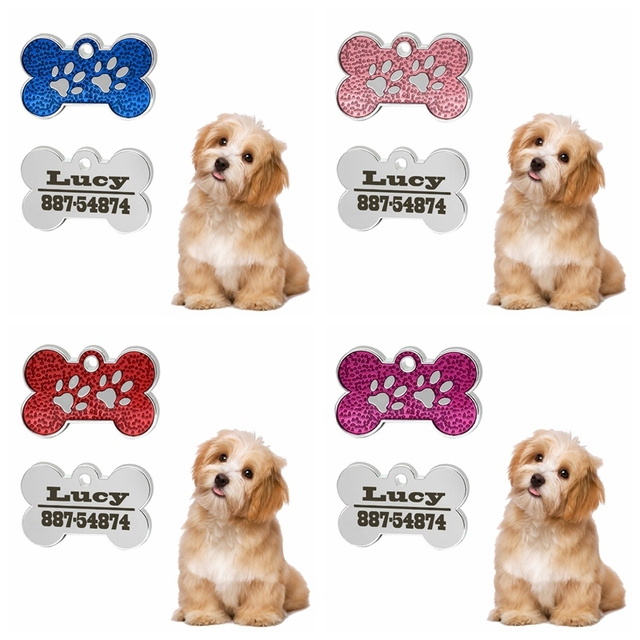 new style engraved dog id tag bone shape personalized anti lost cat