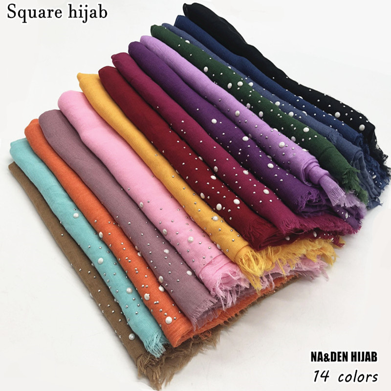 2018 New Square hijab scarf snow dot bead decor scarves and shawls luxury muslim hijabs vintage