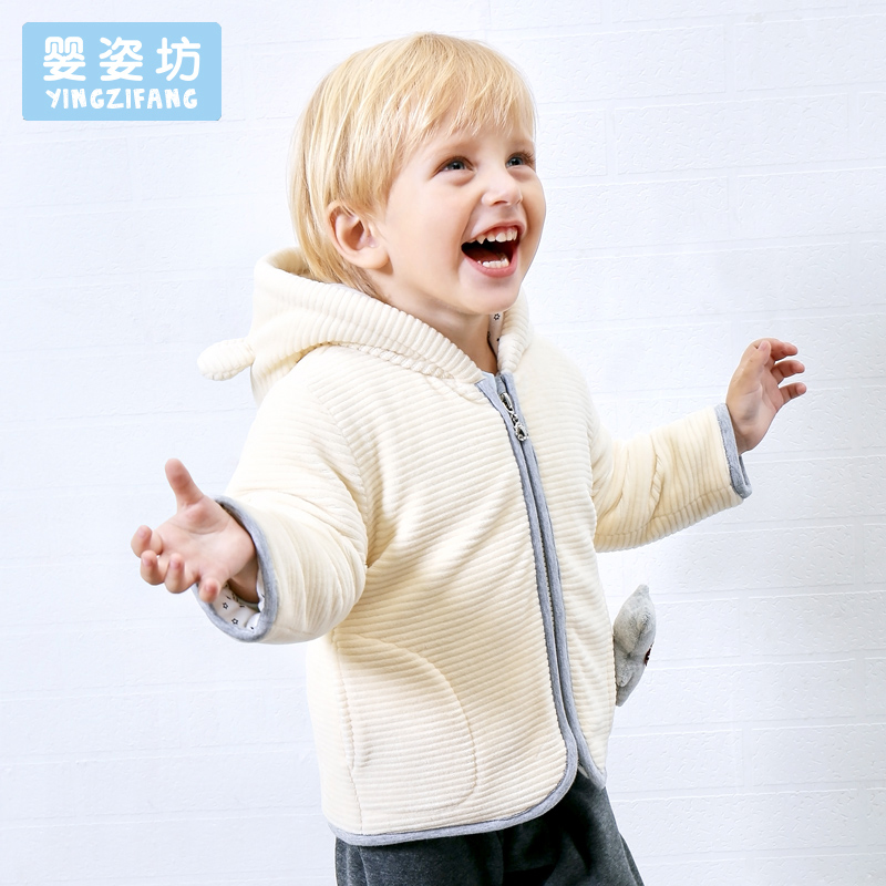 2017 Winter Baby Coat Toddler Boys Girls Cotton Bear Patchwork Hooded Jacket Casual Style Hooded Coat Kids Outerwear Clothes