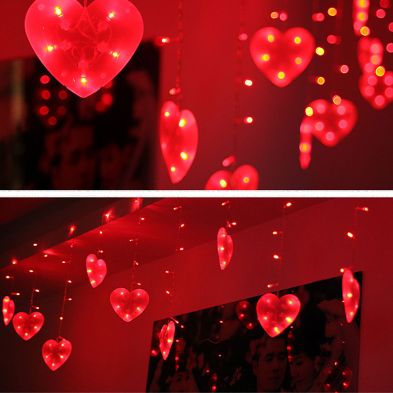 EU Plug 3M LED String Lights Love Heart Shape Strip Lamp Festival Holiday Curtain Light Wedding Party Room Decoration ALI88