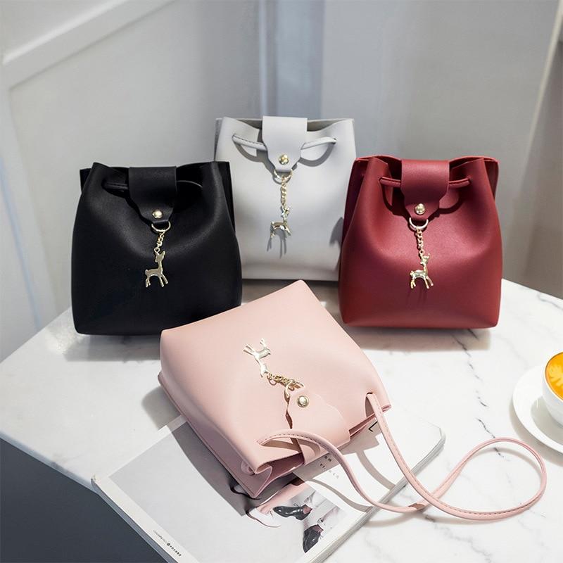 Girls' Small Cross Shoulder Bucket Bag Handbags 2019 Mini Leisure Women Handbags Pouch with Deer Mini Crossbody Messenger Pack