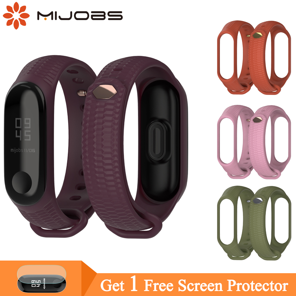 Mijobs Mi Band 3 Strap Silicone Wrist Strap For Xiaomi Mi Band 4 3 Accessories Bracelet Miband 3 Smart Wristbands Miband 4 Strap