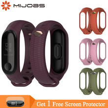 Mijobs Mi Band 3 Strap Silicone Wrist Strap for Xiaomi Mi Band 4 3 Accessories Bracelet Miband 3 Smart Wristbands Miband 4 Strap(China)