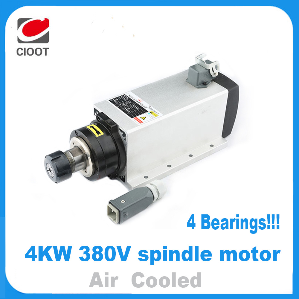 2017 New Cnc Router Spindle Motor Spindel High Quality 4kw 380v Air-cooled Er20 Spindle Motor Four Bearings Engraving Machine high quality 220v 3 kw cnc air cooled square spindle motor er20 4 beaings for cnc wood working engraving milling machine