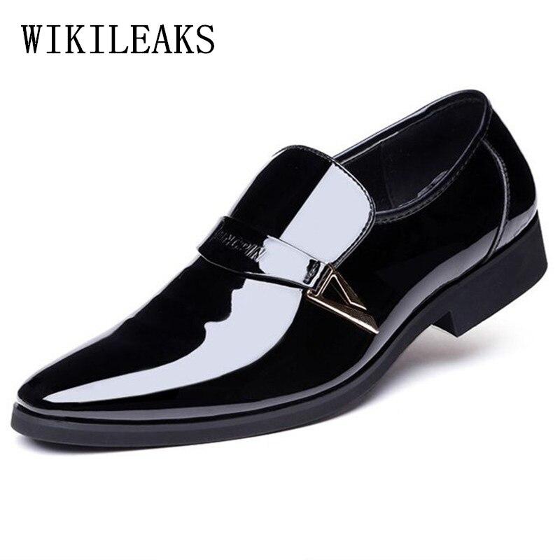 designer formal men shoes zapatos hombre heren schoenen dress wedding shoes 2017 patent leather shoes men oxford shoes for men
