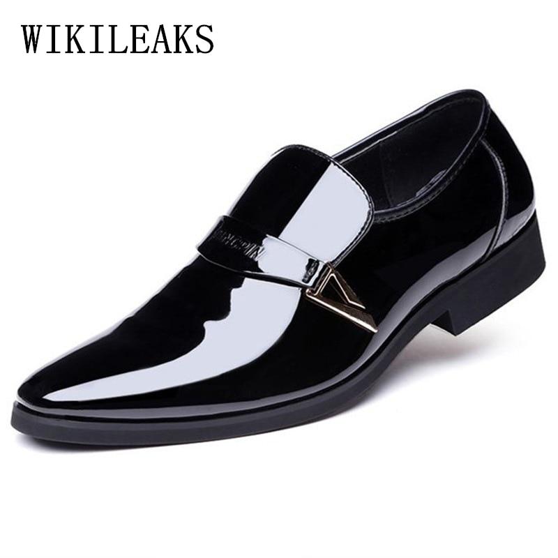 designer formal men shoes zapatos hombre heren schoenen dress wedding shoes 2018 patent leather shoes men