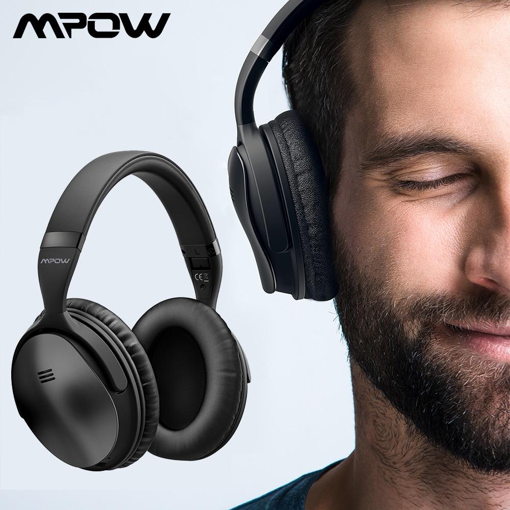 Mpow H5 2nd 2Gen ANC Active Noise Cancelling Sem Fio Bluetooth Fones De Ouvido Fone De Ouvido Com Bolsa de Transporte Para Tablet Smartphones TV
