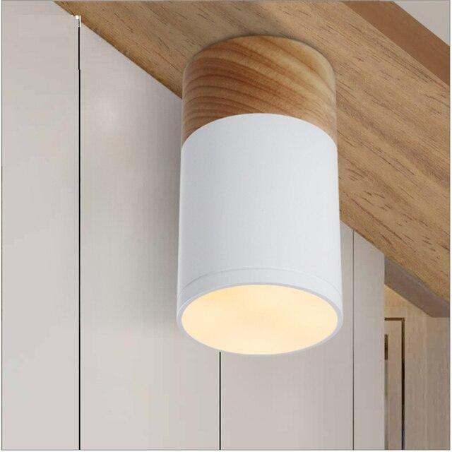 85-265vac 3 w 5 w conduziu a lâmpada montada superfície do ponto do teto, anti brilho pmma que abriga a base de carvalho do ângulo de feixe de 170 graus para baixo a luz