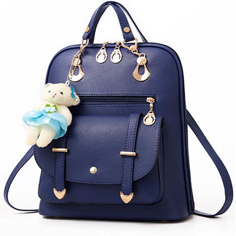 Bear Backpack Female Cute bear School Bags For Girls Backpacks For Women Bag Travel Shoulder Bags sac a main PU Leather Backpack