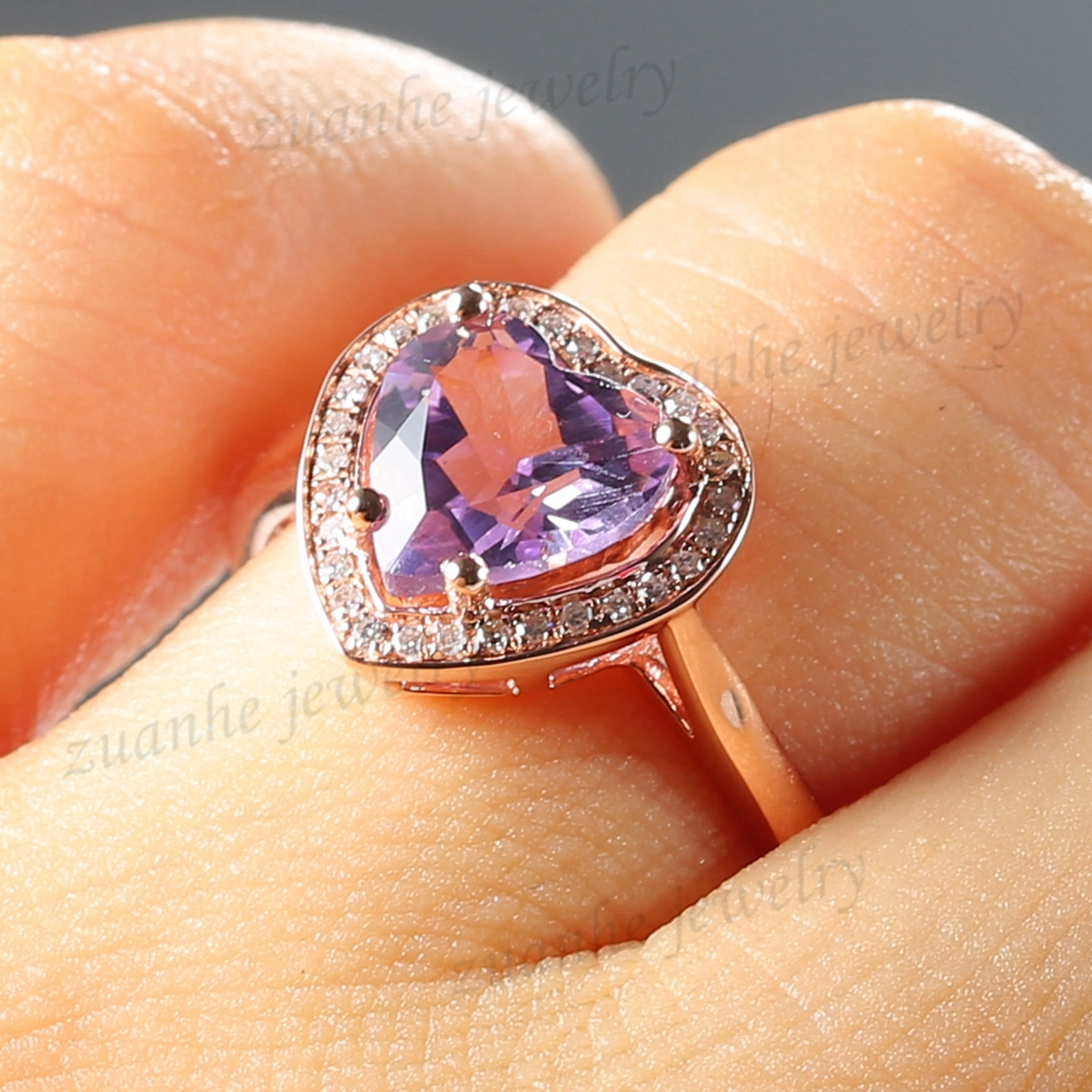 Solid 10k Rose Gold Natural Diamonds Fine 8MM Heart Cut Amethyst Engagement Ring Women Wedding Jewelry yoursfs® alliance gold 585 blue heart stone promise ring rose gold plated created sapphire turkish jewelry wedding engagement ring