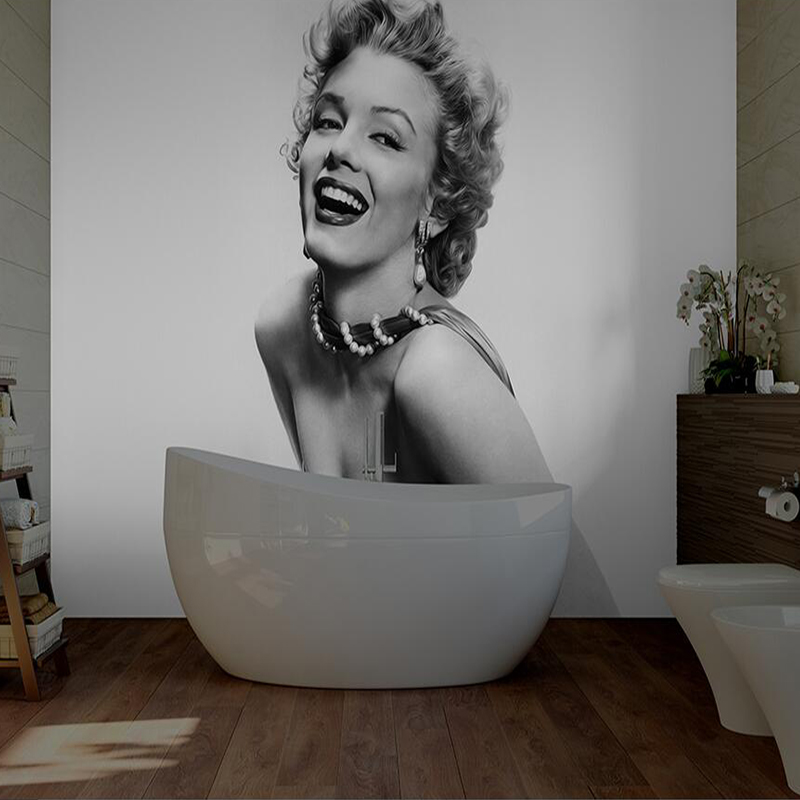 Custom Sexy Lady Canvas 3D HD Wallpaper Marilyn Monroe Grey White Retro Style Living Room Bedroom Sofa TV Background Wall Paper the custom 3d murals the new york times center building street black and white living room sofa tv wall bedroom wall paper