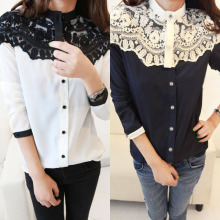 Fashion Women Casual Turtleneck Chiffon Lace Floral Blouse Button Down Shirts Tops