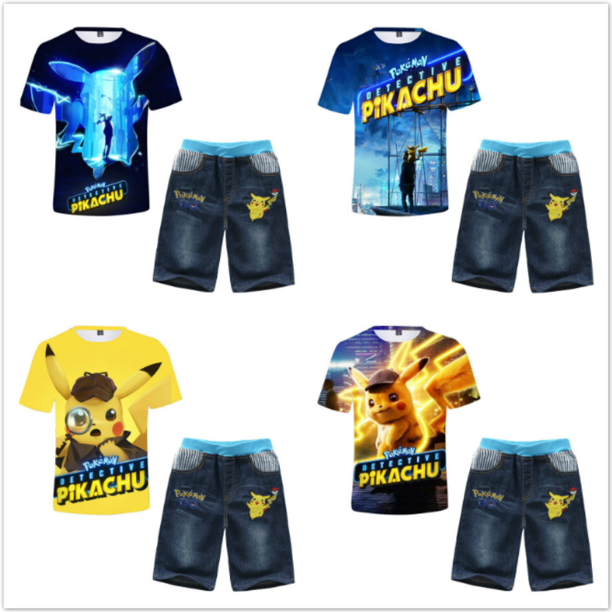 Jean 2pcs Age 4 6 8 Pikachu Kids Boys Casual Outfit Set Summer Cartoon T-Shirt