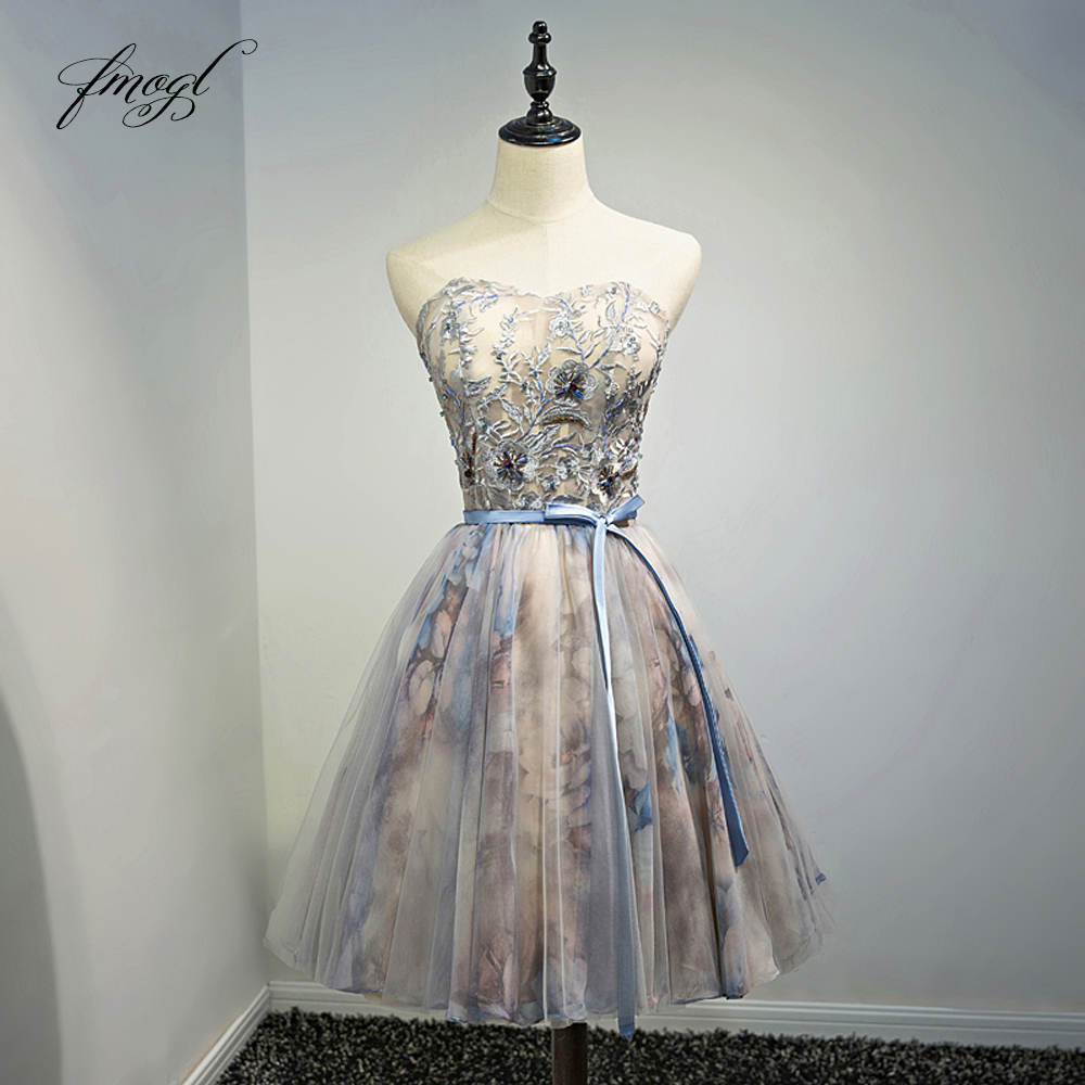 Fmogl Elegant Strapless Knee Length   Cocktail     Dresses   2019 Appliques Beading A Line Short Special Occasion   Dress   For Party