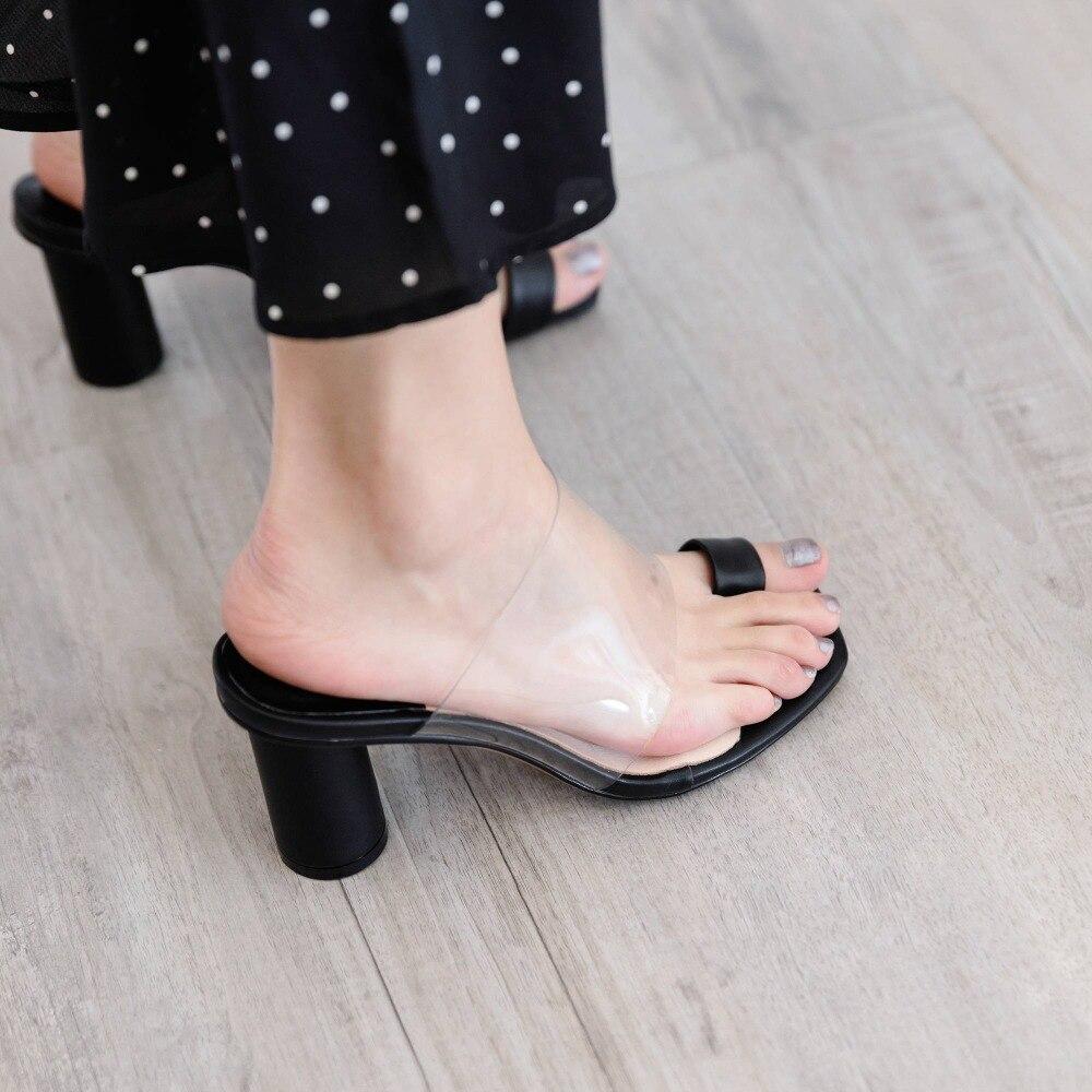 Haut Nouvelle Lenkisen Jolie Chaussures Gelée Creuse Vache En Fille Mode Pvc Talon Classique blanc De Sandale L13 Matériel Ronde Flip flop Cuir D'été Noir rouge sdChQtrxB
