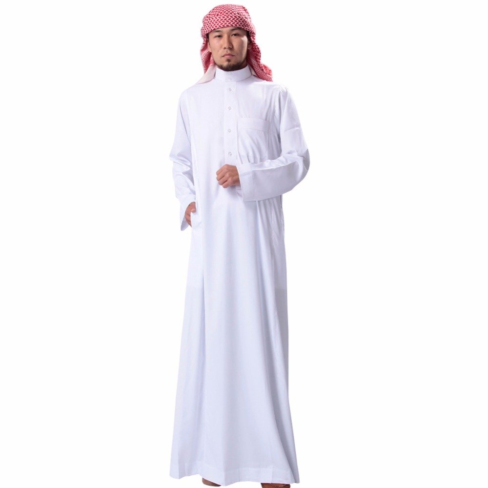 Muslim Men Solid Long Sleeve Loose Jubba Thobes Saudi Arab White Black Clothing Ropa Hombre Homme Kaftan Islam Robe Chambre