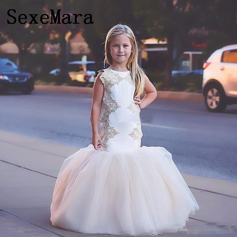 New Mermaid   Flower     Girl     Dresses   Little   Girl   Wedding Party Gown Lace Applique Pageant   Dresses   Size 2-14Y Custom Made Color