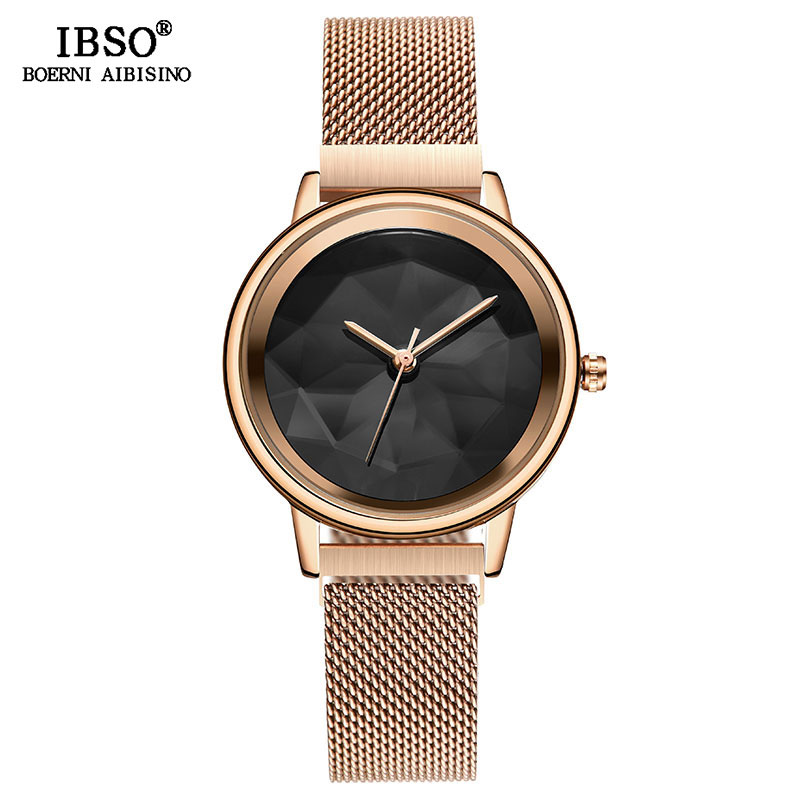 IBSO Brand Creative Aurora Design Watches For Women Luxury Stainless Steel Quartz Watch Female Wrist Watch Reloj Mujer