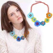 Nuevo Diseño Z Collar Colorido de la Flor de La Aleación Collares y Colgantes Para Las Mujeres Joyería Fina Rhinestone Fijó En Collares de Alta Calidad