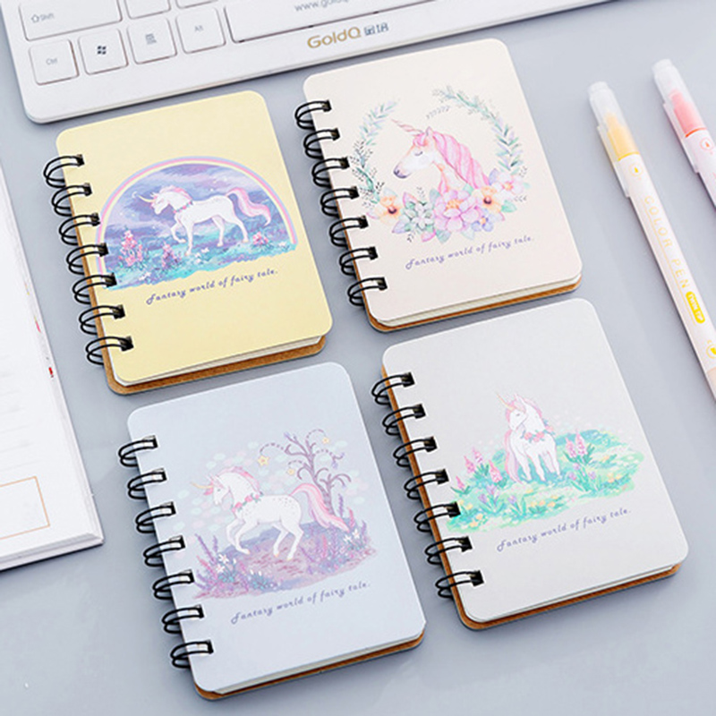 Cute Kawaii Cartoon Animal Unicorn Travelers Spiral Mini Notebook Diary Book Portable Notepad Stationery Offce School Supplies
