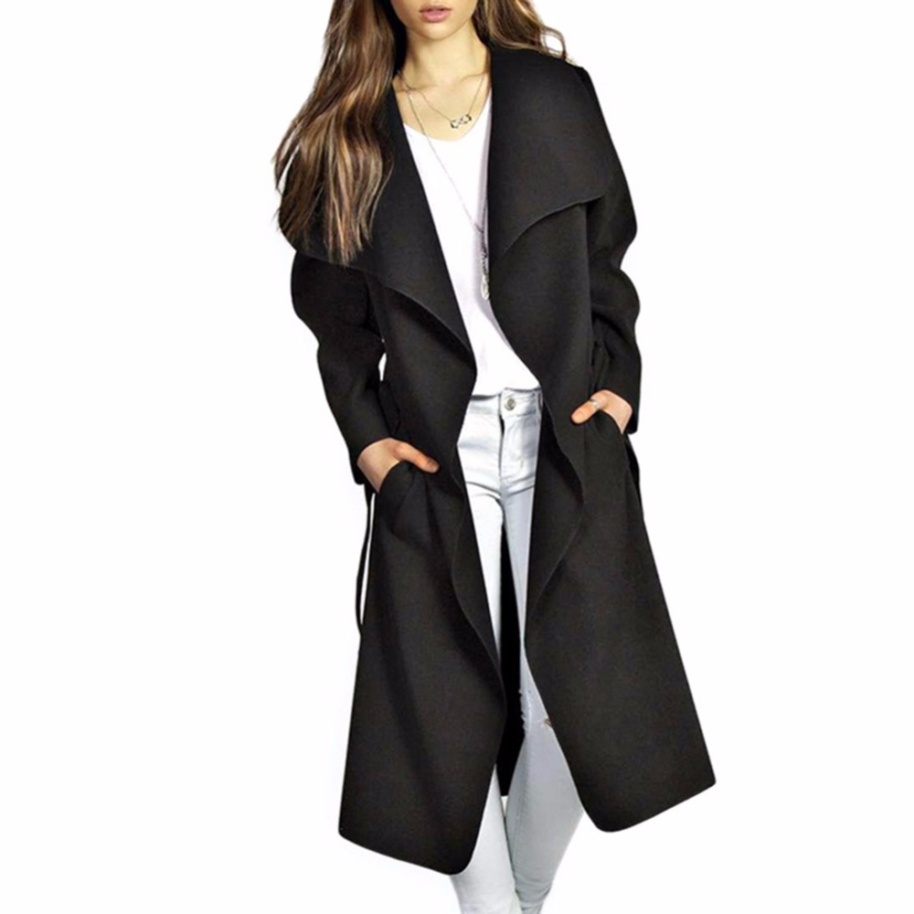 2XL Pocket Coats Fashion Slim Solid Color Large Lapel Knee-length Female 2018 Spring Autumn British style Women\'s   Trench   Coat