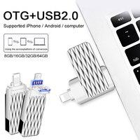 Suntrsi USB2.0 Flash Drive 8 GB 16 GB 32 GB 64 GB Hoge Snelheid OTG USB Flash Drive voor iPhone/iPad/Android 3 in 1 USB Memory Stick