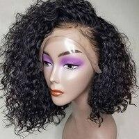 Вьющиеся боб парик 130 Плотность Glueless полный кружево парик перуанский человеческие волосы для женщин бесплатная часть прическа вы