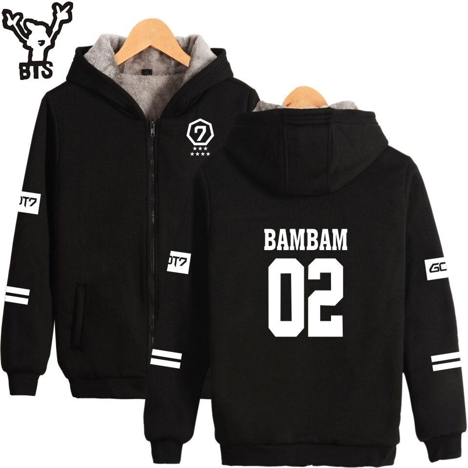 BTS GOT7 K pop Harajuku Hoodies Women Thicker Fluff Winter Coats JR Hip Hop Sweatshirt Women