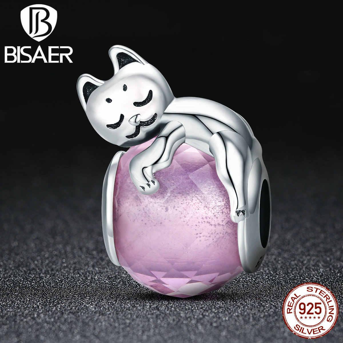 แท้ 100% 925 เงินสเตอร์ลิงสัตว์แมวแมวหี Ball Charm ลูกปัดสร้อยข้อมือ Big Stone DIY เครื่องประดับ