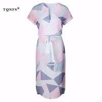 TQNFS Deep V Neck Print Summer Dress Women Short Sleeve Pleated Women Dress Casual Sashes Women