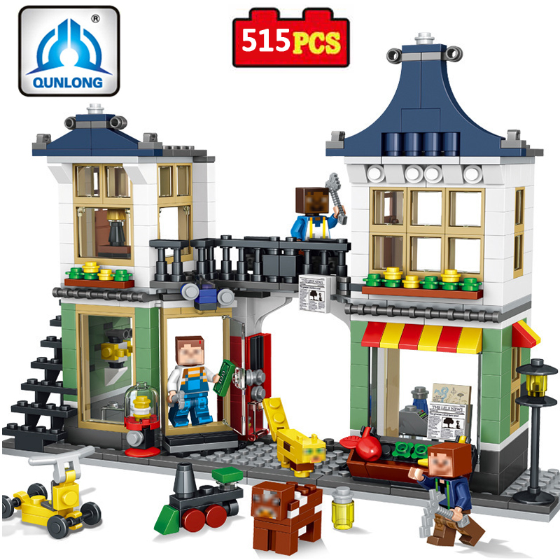 My World Creative Shop Legoed City Building Blocks Toys For Girl Boy Gift Minecrafted Figures Bricks Educational Toys For Kids sending dragons 450pcs basic building blocks 12 shape bricks girl boy christmas birthday gift