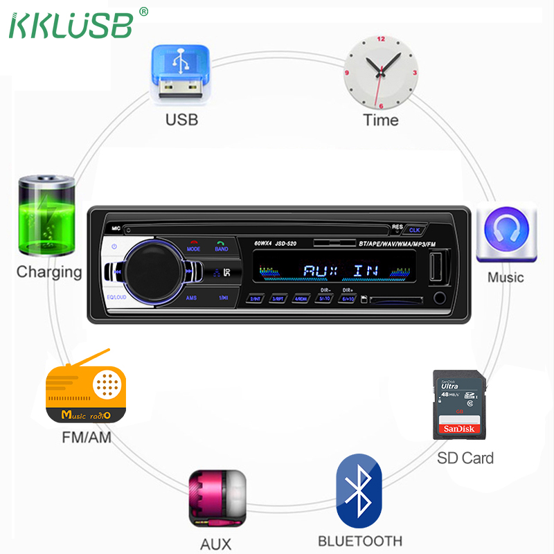 Bluetooth Autoradio Car Stereo Radio FM Aux Input Receiver SD USB JSD-520 12V In-dash 1 Din 12pin Car MP3 Multimedia Player