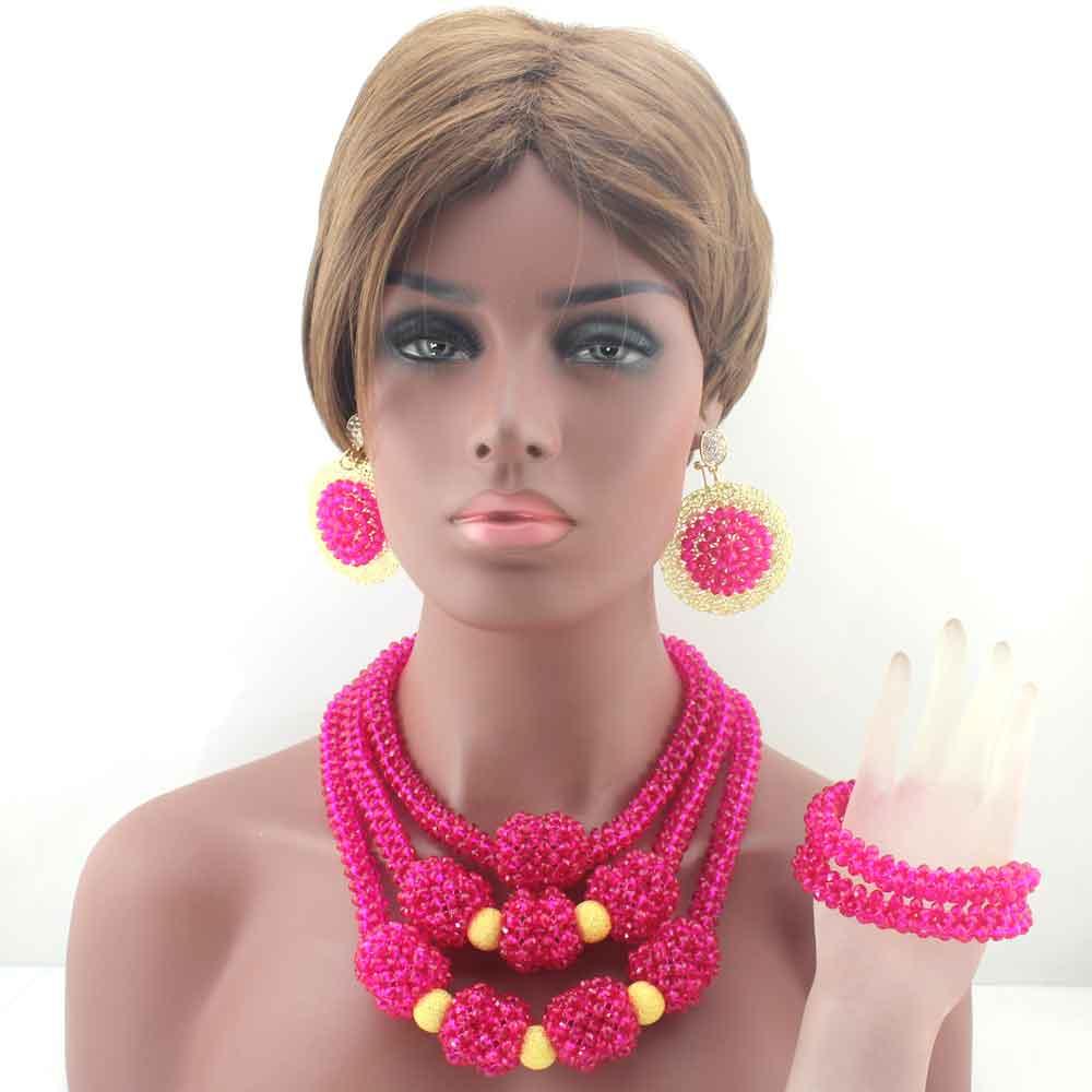 Online Shop New Fuschia Pink Nigerian Traditional Wedding Beads ...